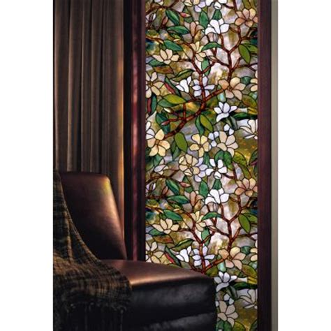 decorative window film home depot artscape magnolia decorative window film 24 in x 36 in