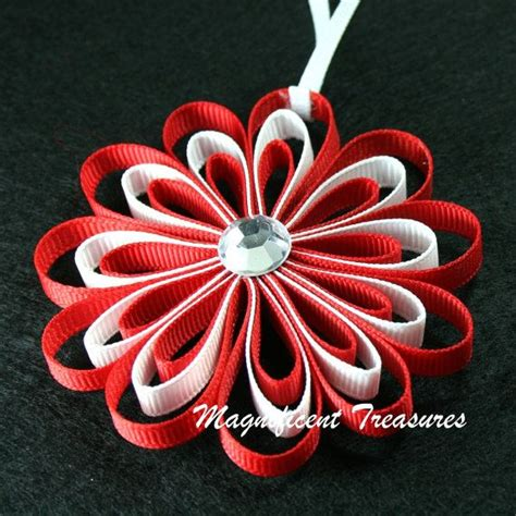 red and white ribbon flower christmas tree ornament