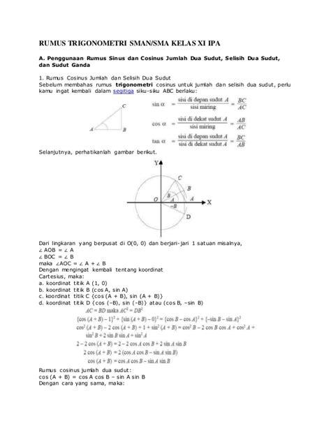Rumus Matematika Sma rumus matematika trigonometri sma