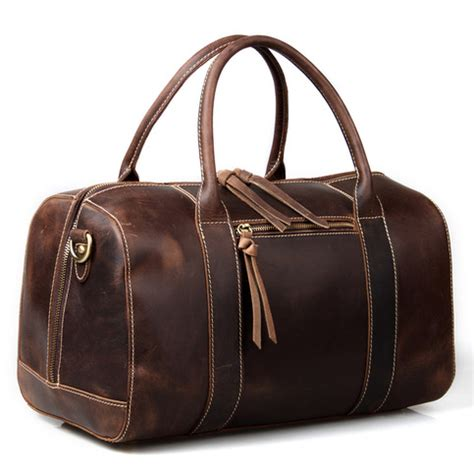 handmade vintage leather duffle bag travel bag gym bag