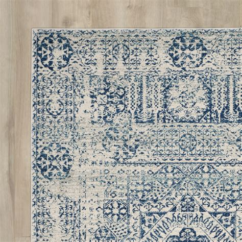Bungalow Rose Ferry Ivory Blue Area Rug Reviews Wayfair Blue Area Rugs