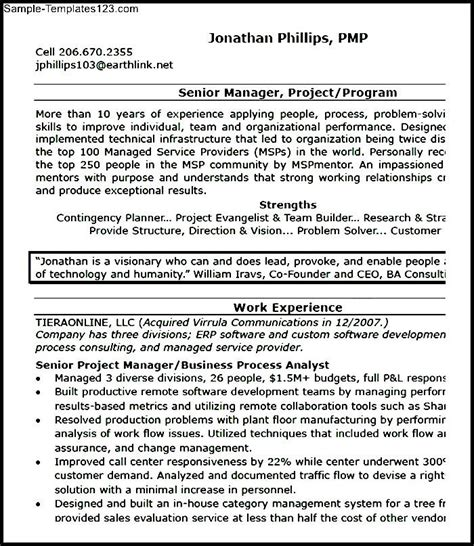 project manager resume format pdf sle templates