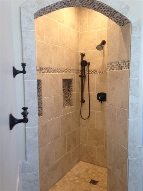 Small Powder Room - doorless shower bathroom dc metro by thomas martins custom remodeling