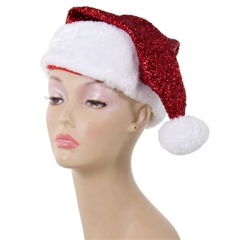 red metallic glitter tinsel santa hat 26472rdao
