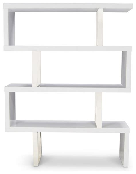 Lester High Gloss White And Silver Bookcase Contemporary White High Gloss Bookcase