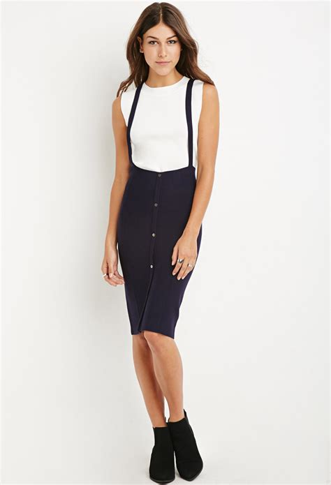 White Overall Dress lyst forever 21 mock neck top and overall dress set in white