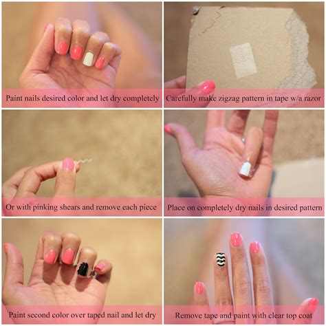 nails tutorial zig zag 14 nail tutorials with tape tricks pretty designs