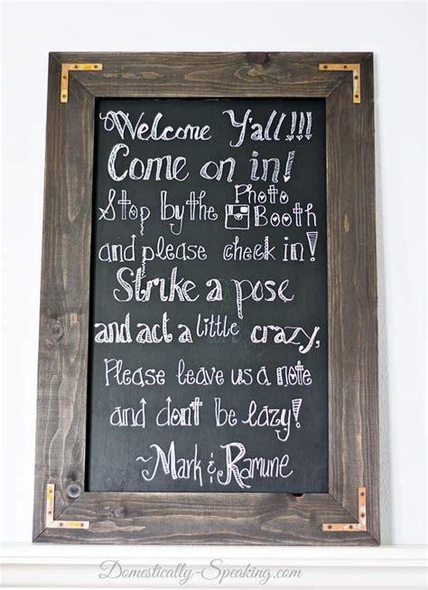 diy chalkboard for wedding diy rustic chalkboard for a wedding domestically speaking