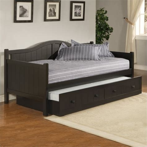 Wood Daybed With Trundle Hillsdale Staci Wood Daybed In Black Finish With Trundle 1572dbt