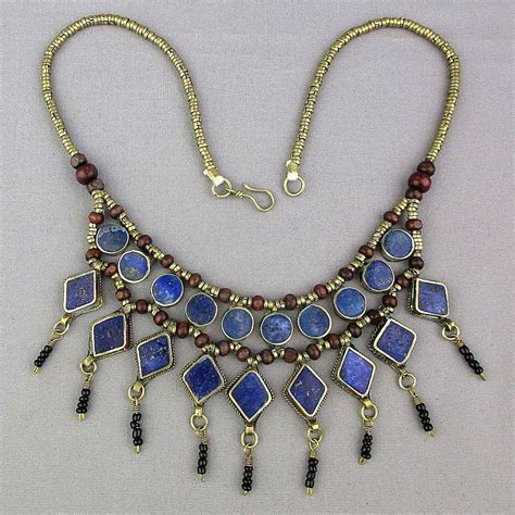 blue lapis bead necklace vintage ethnic silver bead necklace w blue lapis dangles
