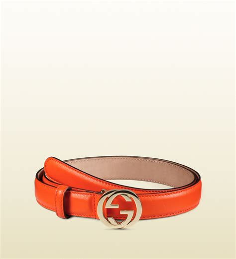 Gucci Ns Leather Orange lyst gucci leather belt with interlocking g buckle in orange