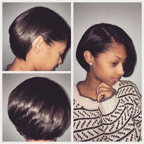 short pressed hairstyles natural hair bob cut and blowout silk press luxe lengths