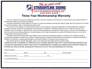 3 Year Workmanship Warranty From Straightline Siding In Tyler Tx Roofing Labor Warranty Template