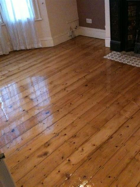 Original 1930 house with pine floor boards after sanding