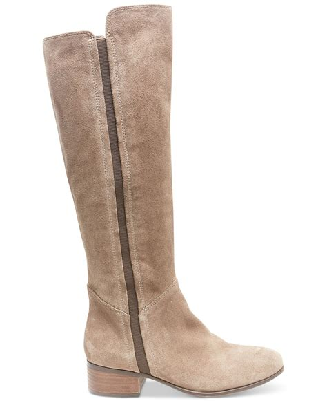 steve madden pull on suede boots in brown taupe