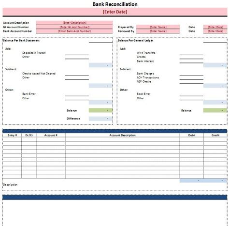 Checking Account Reconciliation Worksheet Free Excel Bank Reconciliation Template
