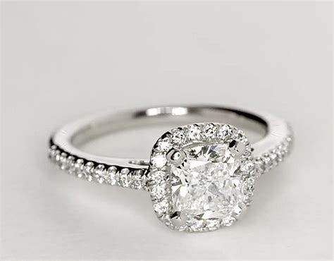 cushion cut halo engagement ring in platinum cushion cut halo engagement ring in platinum 1 4