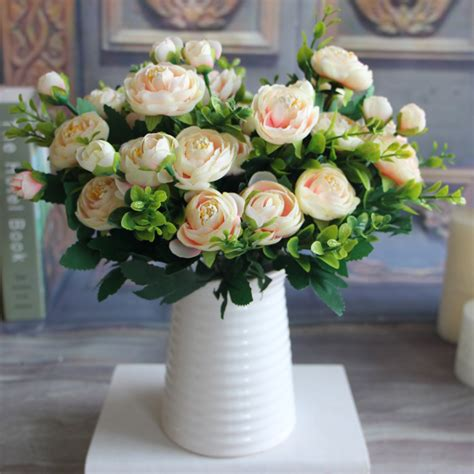 artificial flower decoration for home 6 branches artificial fake peony flower arrangement home