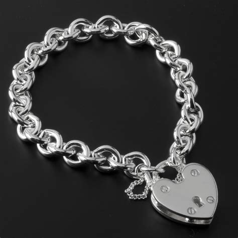 charm uk heavy solid silver charm bracelet with large padlock closure