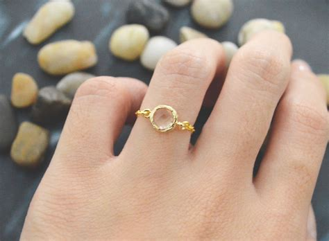 chain ring gold frame ring chagne glass ring simple