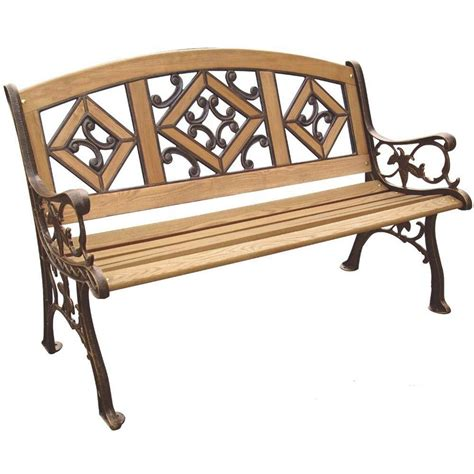 outdoor benches home depot parkland heritage florence wood inlay patio park bench