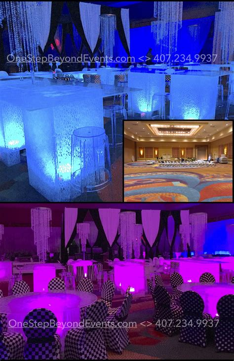 elegant club prom theme   budget  larg prom decorations  lighting glow table rentals