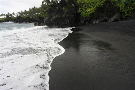 beach with black sand black sand beach in maui wow pinterest