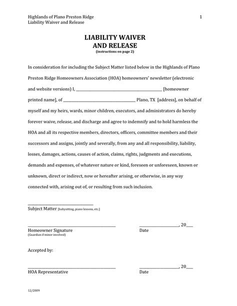 release liability form waiver template best free
