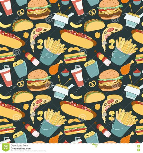 Hand drawn Vector Seamless Fast Food Pattern Stock Vector
