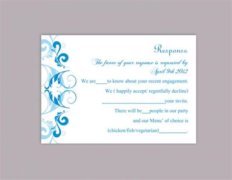 response card wedding template diy wedding rsvp template editable word file instant