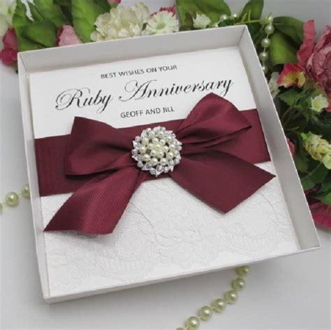 Handmade Ruby Anniversary Cards - luxury handmade personalised wedding stationery