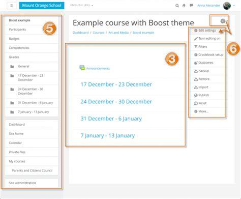 moodle theme selector blank course homepage moodledocs