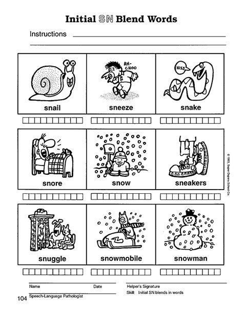 sn words worksheets sn blends gallery