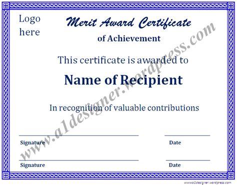 merit award certificate template certificate templates graphics and templates