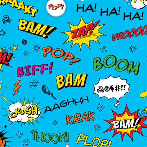 sound effects comic adventures sound effects on blue fabric jazzypatterns spoonflower