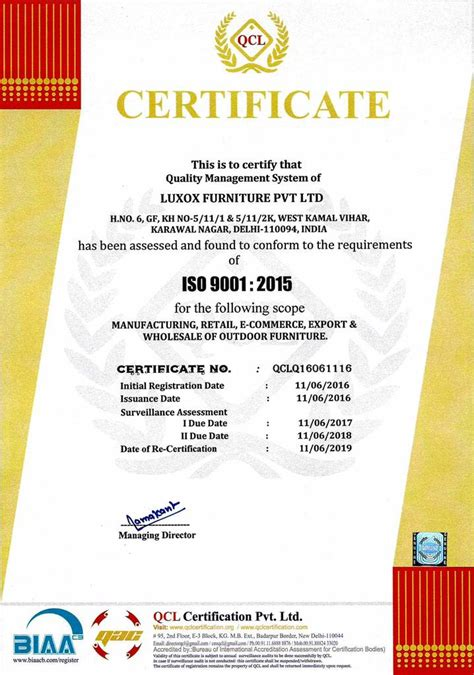 upholstery certificate luxox furniture pvt ltd product management