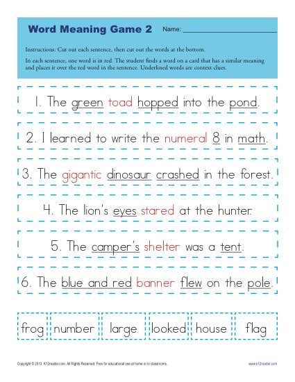 printable word definition games multiple meaning words worksheets 4th grade the best and
