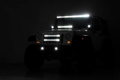 jeep wrangler lights 20in led light bar grille kit for 2007 2018 jeep wrangler