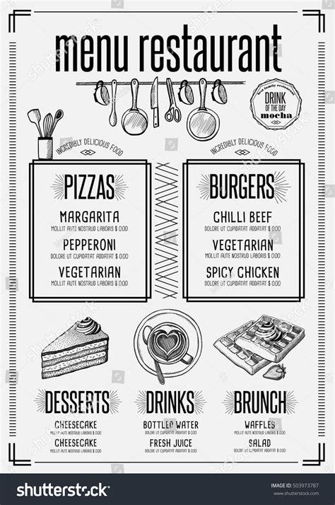 Placemat Menu Restaurant Food Brochure Cafe Stock Vector 503973787 Shutterstock Placemat Menu Templates