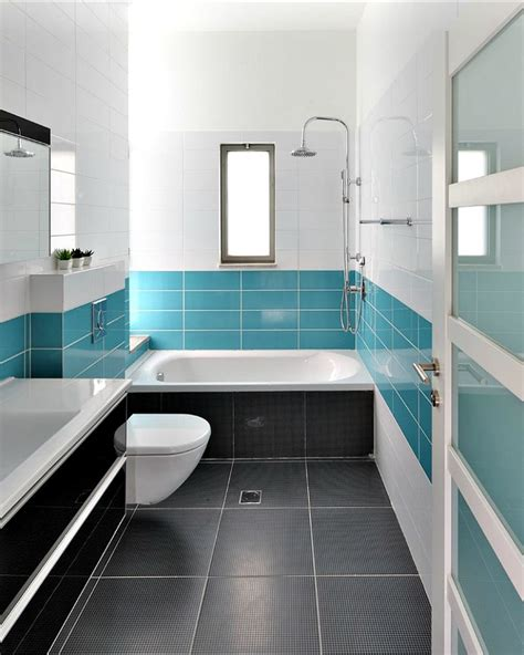 clean bathroom tiles love the combo and breakup of colours dark floors colour