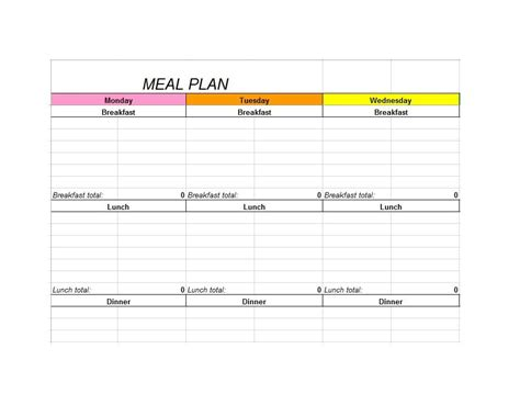 meal template 40 weekly meal planning templates template lab