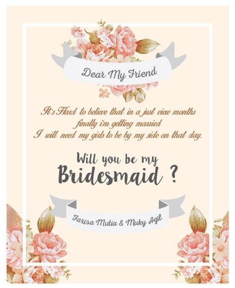 Bridesmaid Card Template Free by Paperpeace Bridesmaid Card With Kebaya Attire With Brown
