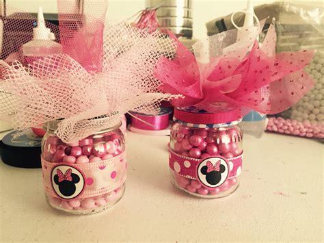 decoraciones deminnie en latas de leche botes de gerber con dulces para fiesta de minnie mouse