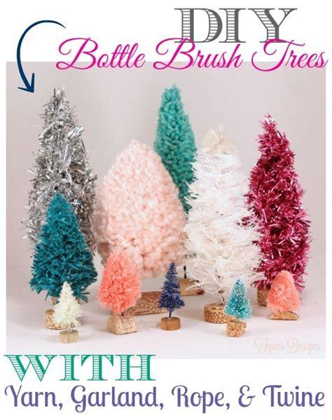 Handmade Bottles - handmade bottle brush trees with yarn twine garland