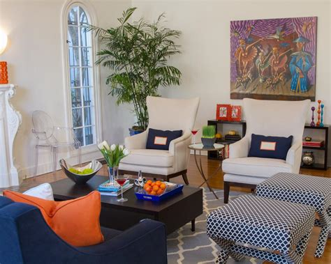 navy blue and orange living room photo page hgtv