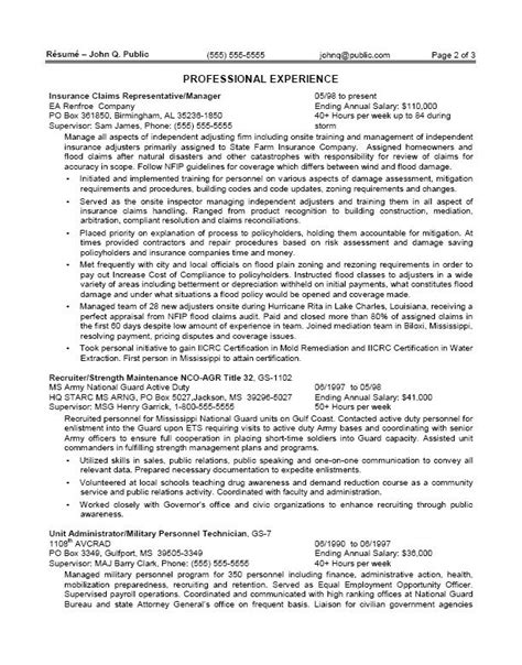 federal government resume sles 2015 federal resumes exles resume ideas