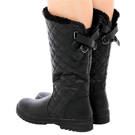 thick sole boots for d6z womens quilted faux fur lined thick sole mid