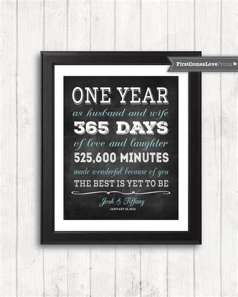 1st year wedding anniversary gifts for her chalkboard style first anniversary gift for husband for