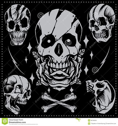 skull and rose old style stock vector image 38799050