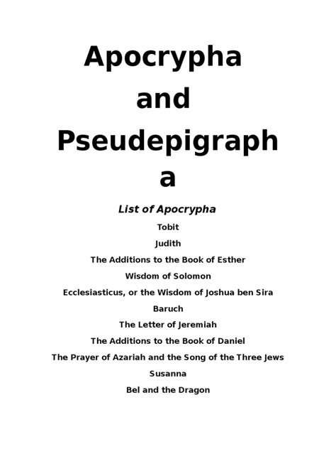 Apocrypha and Pseudepigrapha   Book Of Enoch   Bible
